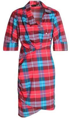 Love Moschino Asymmetric Checked Cotton-Poplin Mini Dress