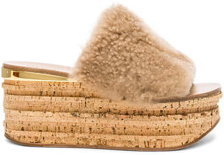 Chloé Sheep Fur Camille Wedge Sandals
