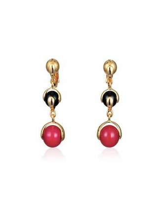 Marina B Red Agate & Black Spinel Three-Drop Earrings