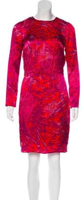 Adam Printed Long Sleeve Knee-Length Dress