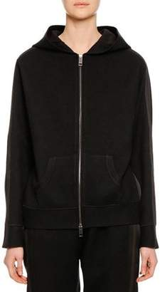 Ermanno Scervino Zip-Front Hooded Wool-Cashmere Jacket w/ Lace Applique on Back