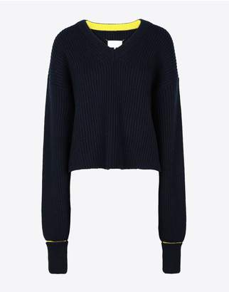 Maison Margiela Two-Tone Cropped Knitted Jumper
