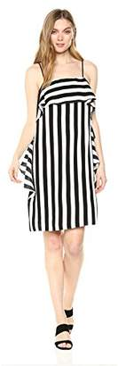 Nicole Miller New York Women's spaghtetti Strap Cascade Ruffle Shift Dress