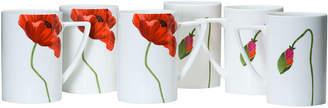 Asstd National Brand Red Vanilla Summer Sun Set of 6 Bone China Coffee Mugs