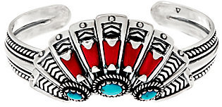 American West American West Sterling Silver Red Coral and Turquoise Fan Cuff Bracelet