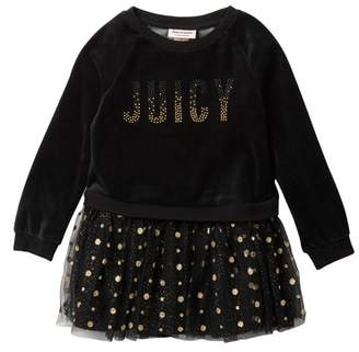 Juicy Couture Velour Sweatshirt Top & Layered Tulle Bottom Dress (Little Girls)