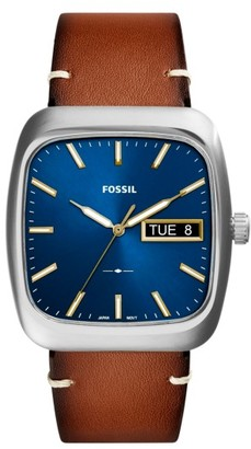 Fossil Rutherford Leather Strap Watch, 41Mm $115 thestylecure.com