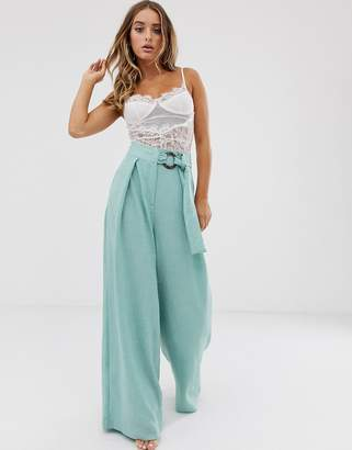 Asos Design DESIGN wide leg trousers with coconut effect trim