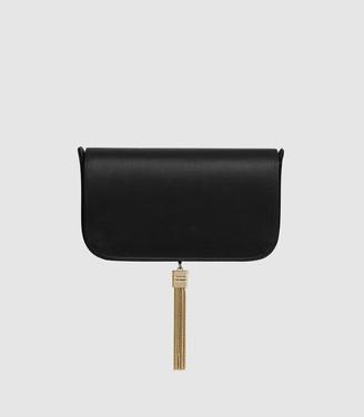 Reiss VIENNA SATIN CLUTCH BAG Black