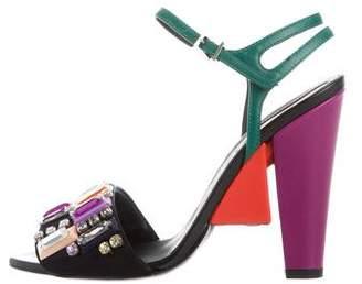 Fendi Jewel-Embellished Ankle Strap Sandals