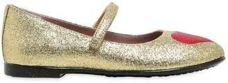 Gucci Heart Glitter Leather Ballerina Flats