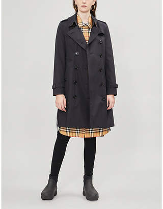 Burberry Womens Midnight Black Heritage Chelsea Check-Trimmed Cotton Trench Coat
