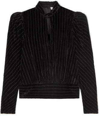 Frame Striped Devoré-velvet Top - Black