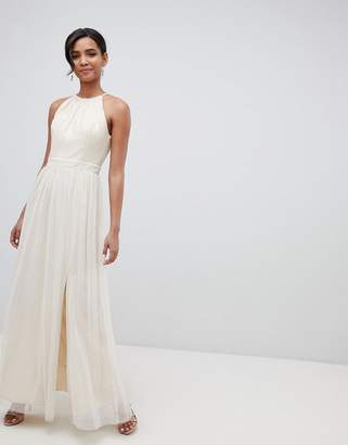Little Mistress sequin high neck maxi dress in cream