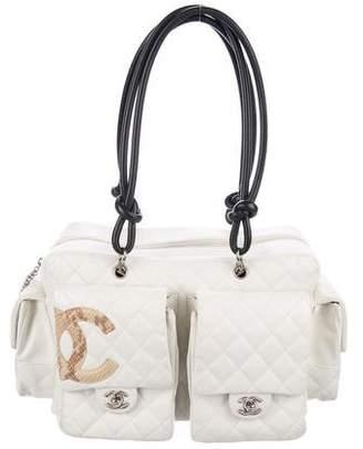 Chanel Large Python-Trimmed Ligne Cambon Reporter Bag