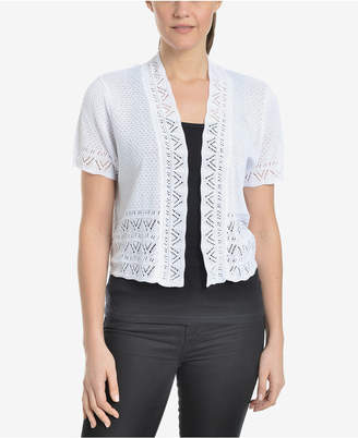 NY Collection Pointelle-Knit Cropped Open-Front Cardigan