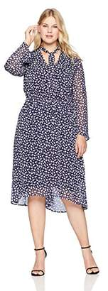 Anne Klein Women's Plus Size Long Sleeve Fit and Flare Dress