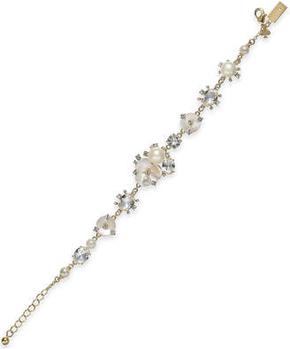 Kate Spade Gold-Tone Crystal & Imitation Mother-of-Pearl Flower Link Bracelet