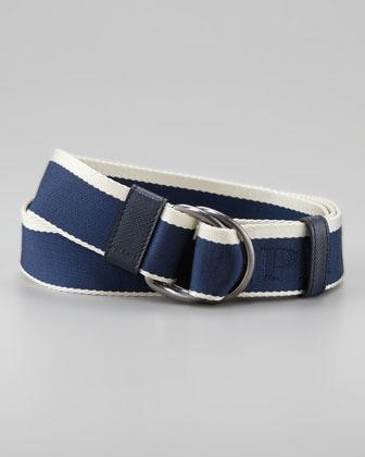 Prada Striped Nylon Belt, Blue/White