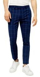Topman Page Windowpane Check Super Skinny Dress Pants