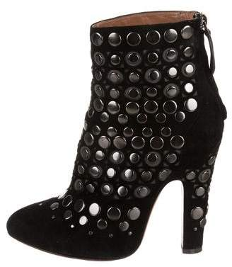 Alaia Embellished Pointed-Toe Ankle Boots