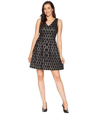 Vince Camuto Jacquard Double V Fit and Flare