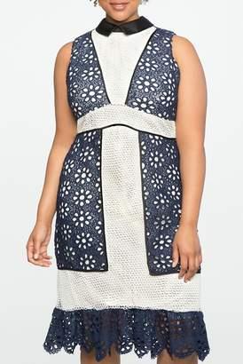 ELOQUII Studio Mixed Lace Fit & Flare Dress (Plus Size)