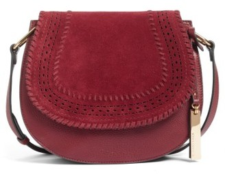 Vince Camuto Kirie Suede & Leather Crossbody Saddle Bag - Red $248 thestylecure.com