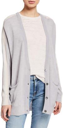 ATM Anthony Thomas Melillo Schoolboy Wool Side-Stripe Pocket Cardigan