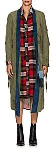 Greg Lauren Women's Cotton Canvas Belted Kimono Jacket - Army, Blue