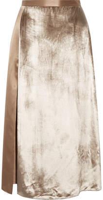 Michelle Mason - Velvet-paneled Silk-satin Midi Skirt - Mushroom