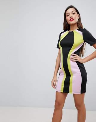 Asos Design DESIGN colourblock mini shift dress