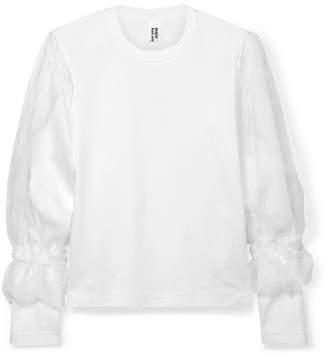 Noir Kei Ninomiya Organza-trimmed Cotton-jersey T-shirt - White