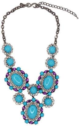 Kenneth Jay Lane Crystal, Amethyst Turquoise Cabochon Necklace
