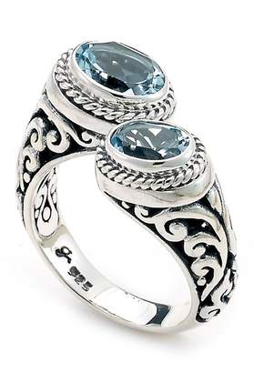 Samuel B Jewelry Sterling Silver Oval Blue Topaz Bypass Ring