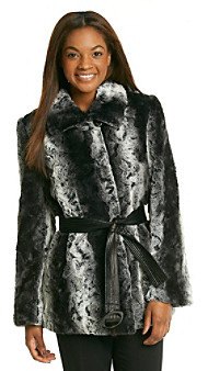 Gallery Chinchilla Belted Faux Fur Coat