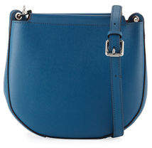 Neiman Marcus Saffiano Mini Saddle Crossbody Bag