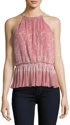 Joie Jeneca Pleated Printed Halter Top