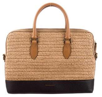 Burberry Raffia & Leather Briefcase natural Raffia & Leather Briefcase