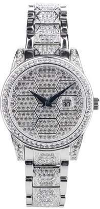 Croton Ladies Silvertone Honeycomb Design Austrian Stellux Bracelet Watch