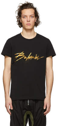 Balmain Black Metallic Signature Logo T-Shirt