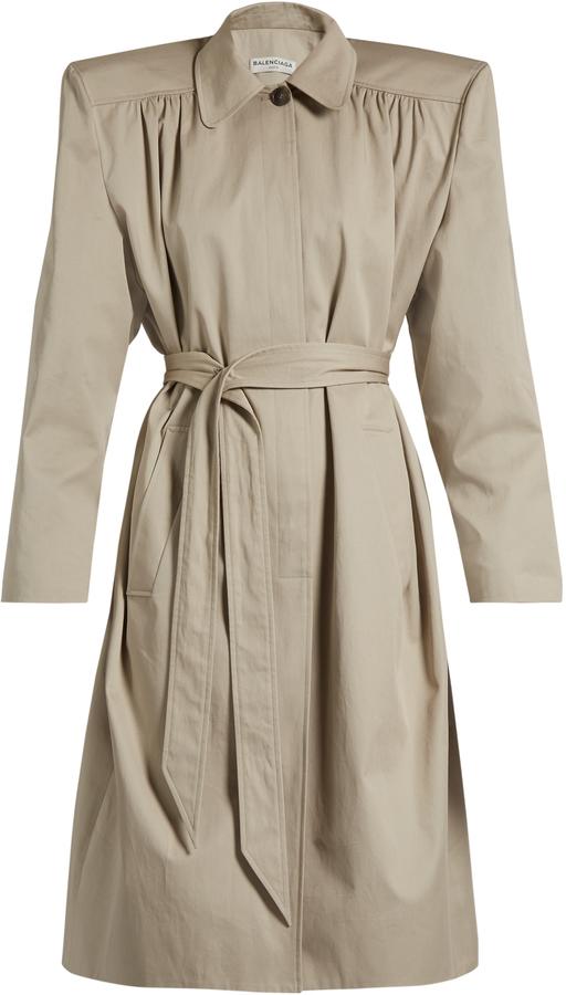 Balenciaga BALENCIAGA Exaggerated-shoulder twill trench coat