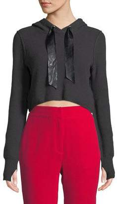 Marled by Olivia Culpo Textured Stitch Cropped Pullover Hoodie