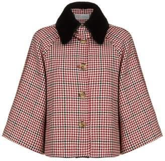 RED Valentino Check Mink Collar Cape