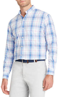 Izod Long-Sleeve Plaid Cotton Sport Shirt