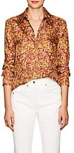 Land of Distraction Women's Sonja Floral Silk Western Blouse - Rust