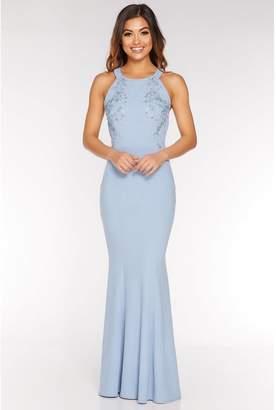 Quiz Pale Blue Halterneck Backless Maxi Dress