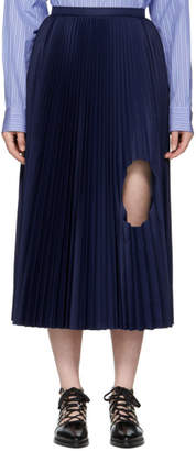Toga Navy Pleated Cut-Out Skirt