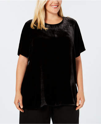 Eileen Fisher Plus Size Short-Sleeve Velour Top