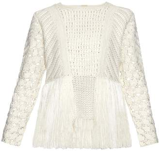 ADAM by Adam Lippes Fringed crochet-panel sweater